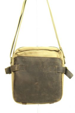 Pouch: Medium size satchel in camel canvas and dark brown cow leather (1881)