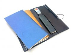 Large black leather diary