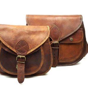 Goat leather saddle bags