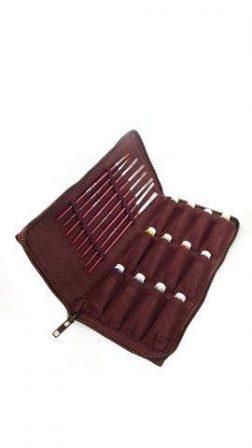 Oil art set leather case. Includes oil paints and pencils.