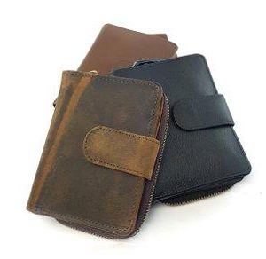 Button leather wallets