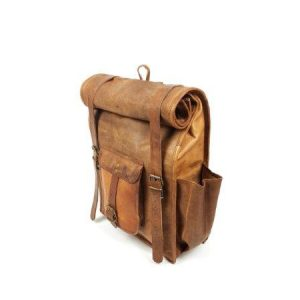 Goat leather Roll up Backpack