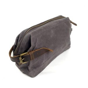 Canvas and leather toiletry bag
