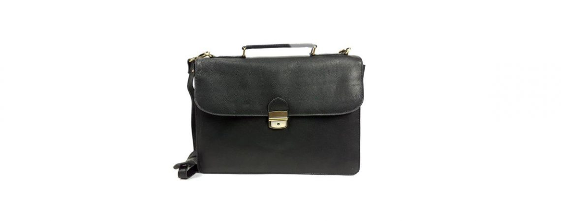 ITALY Work Bag in Leather – 15″ Shoulder Messenger Satchel with Lock and Key
