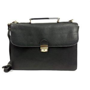 15-WORK-ITALY-BUFFlong Work bag Black Leather Computer bag