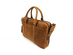16-DOUBLE-TOP-ZIP-BUFF-ANGLE Professional Buffalo Leather Laptop Satchel
