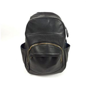 BACKPACK-CLASSIC-3ZIP-BLK long BLACK LEATHER BACKPACK